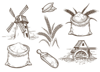 Hand drawn vector illustration with ears of wheat and flour sacks. Retro sketch bakery elements with mill and whole grains isolated on white background