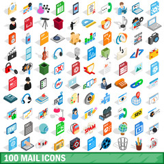100 mail icons set, isometric 3d style