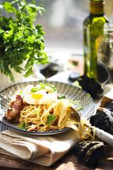 Nicely served spaghetti carbonara