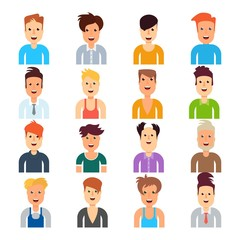 Set of men with different hairstyles. Flat vector cartoon illustration. Objects isolated on a white background.