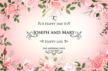 Postcard with delicate flowers roses. Wedding invitation, thank you, save the date cards, menu, flyer, banner template. Happy Birthday greeting card