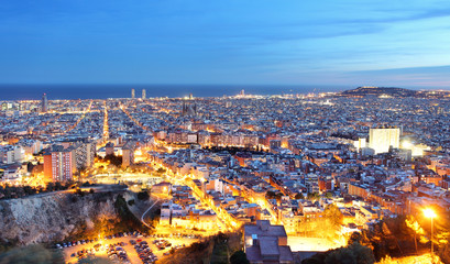 Barcelona city at night, Spain.