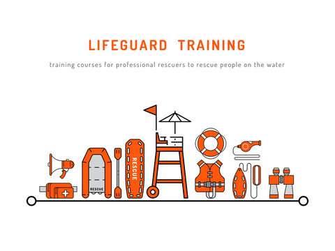 Lifeguard training vector illustration on white background isolated. Cover of the courses of rescuers with a set of rescue equipment
