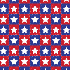 seamless pattern in red and blue with white stars