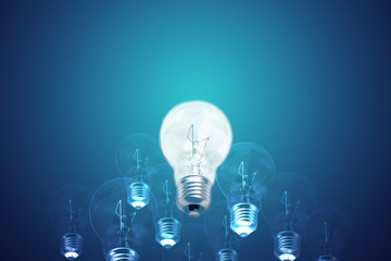 Idea and leadership concept incandescent type bulbs