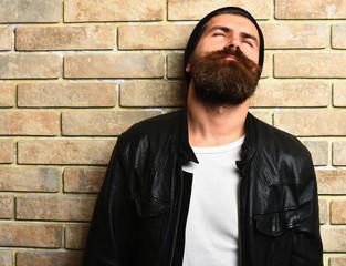 Bearded brutal caucasian hipster in glasses