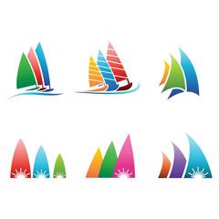 Set surfing, water sports logo