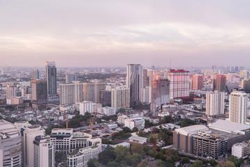 Bangkok Skyline With City office building at sunset Bangkok, Thailand