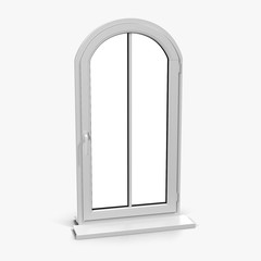 arched one door plastic window isolated on white. 3D illustration