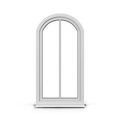 One door plastic arched window isolated on white. 3D illustration