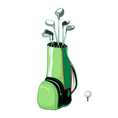 Vector illustration of red and green golf bag vertical