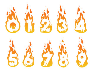 Illustration of burning numbers in a fire from number 1 to number 10