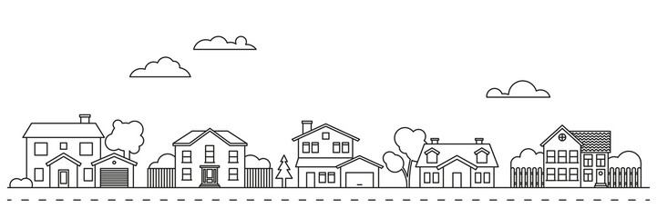 Village neighborhood vector illustration