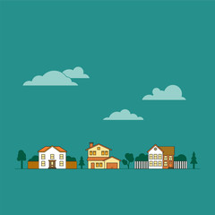 Suburban neighborhood vector illustration