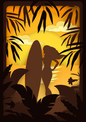 Vector illustration as if paper silhouettes of a girl with a surfboard among tropical plants on the beach at sunset or sunrise
