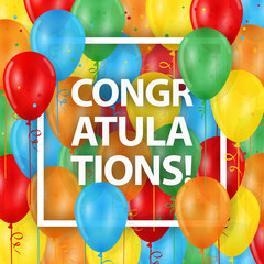 """CONGRATULATIONS!"" Card with Balloons Background"