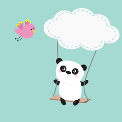 Panda ride on the swing. Cloud shape. Flying pink bird. Cute fat cartoon character. Kawaii baby collection. Love card. Flat design. Funny kids style. Blue sky background.