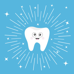 Healthy tooth icon with smiling face and big eyes. Cute cartoon character. Round line circle. Oral dental hygiene. Children teeth care. Shining effect stars. Blue background. Flat design.
