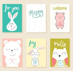 Collection of cute artistic cards for kids. Funny animals in vector.