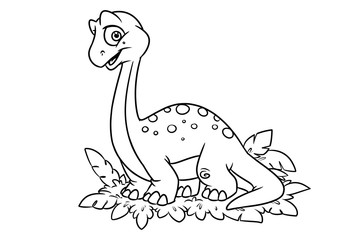 Dinosaur coloring page cartoon Illustrations isolated image character