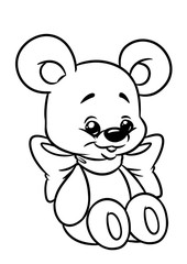Bear funny bow coloring page cartoon Illustrations isolated image character