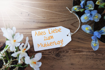 Sunny Flowers, Label, Muttertag Means Mothers Day