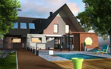 Maison contemporaine terrasse bois avec piscine