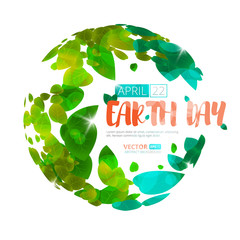 Happy Earth Day. Greeting card on 22 april. Vector earth globe with green leaves isolated on white background.