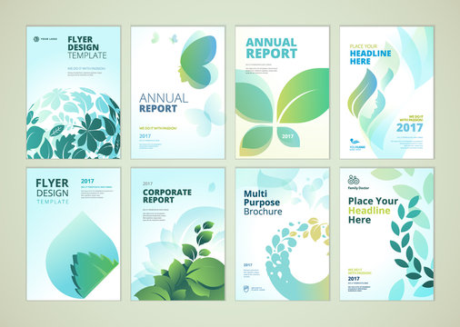 Nature and healthcare brochure cover design and flyer layout templates collection. Vector illustrations for marketing material, ads and magazine, products presentation templates.