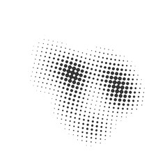 Black and white dotted background. Halftone effect. Vector texture. Modern background. Monochrome geometrical pattern. Element for design