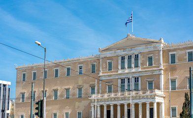 The greek parliament building at syntagma square