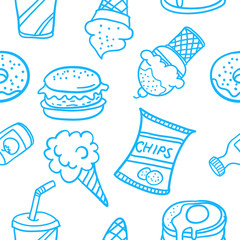 Doodle of food various style design