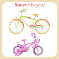 Bicycles colorful vector illustrations