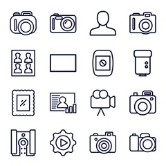 Set of 16 picture outline icons