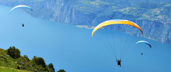 Paragliding is a popular activity on Lake Garda. Taking off from Monte Baldo, Italy