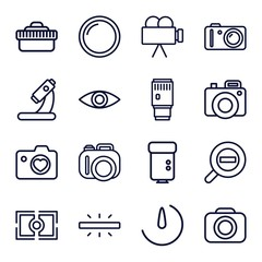 Set of 16 lens outline icons
