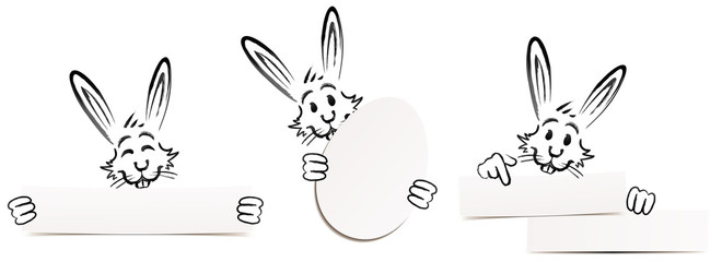 set of funny easter bunnies with cardboards - doodle