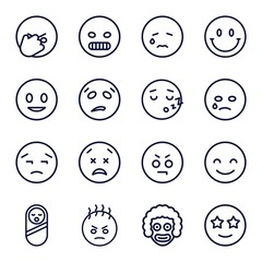 Set of 16 smile outline icons