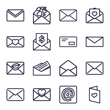 Set of 16 envelope outline icons