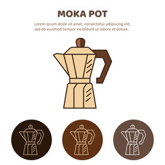Mocha pot illustration. Household appliances isolated.