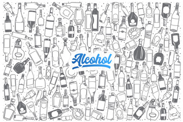 Hand drawn alcohol doodle set background with blue lettering in vector