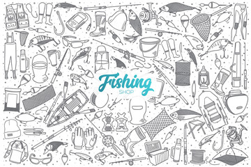 Hand drawn fishing shop doodle set background with blue lettering in vector