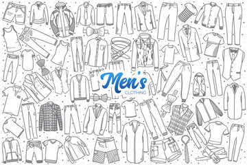 Hand drawn men's clothing doodle set background with blue lettering in vector