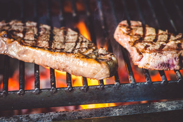 CLOSE UP FOOD: Steak is grilled