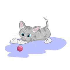 Illustration cute kitten seeing on ball