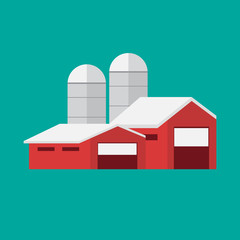 Farming background with barn, windmill, tractor eps10