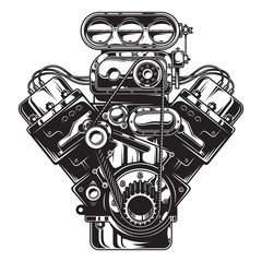 Isolated monochrome illustration of car engine on white background