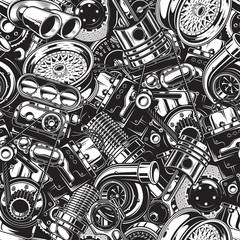Automobile car parts seamless pattern with monochrome black and white elements background.