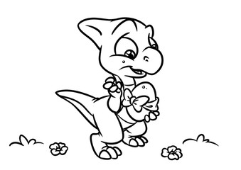 Dinosaur egg coloring page cartoon Illustrations isolated image animal character