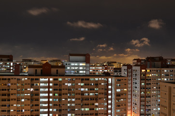 Singapore Public Housing at night
